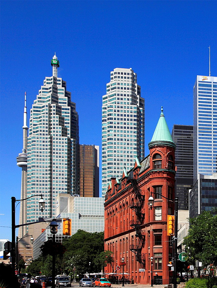 Canada, Ontario, Toronto, Flatiron Building, Financial District, skyline,.