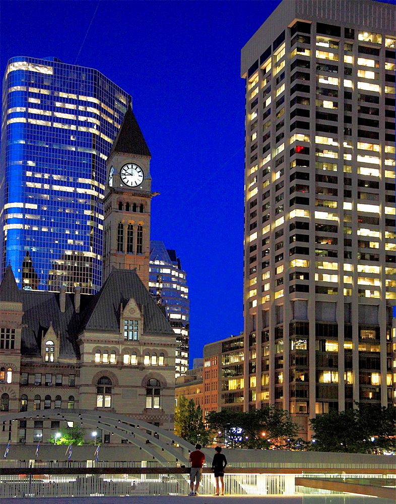 Canada, Ontario, Toronto, Nathan Phillips Square, Old City Hall,.