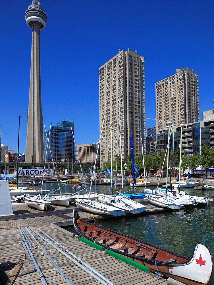 Canada, Ontario, Toronto, Harbourfront, boats, CN Tower,.