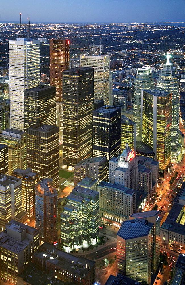 Canada, Ontario, Toronto, downtown skyline, aerial view.