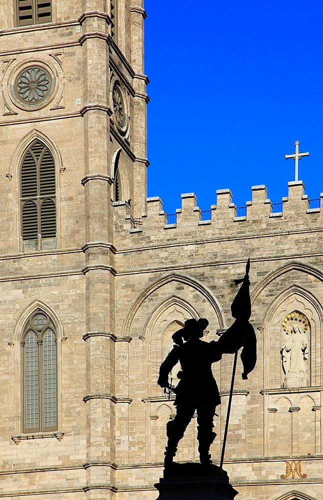 Canada, Quebec, Montreal, Notre Dame church, de Maisonneuve statue,.