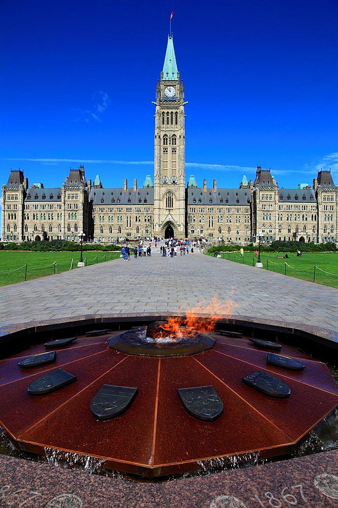 Canada, Ontario, Ottawa, Parliament, Centennial Flame,.