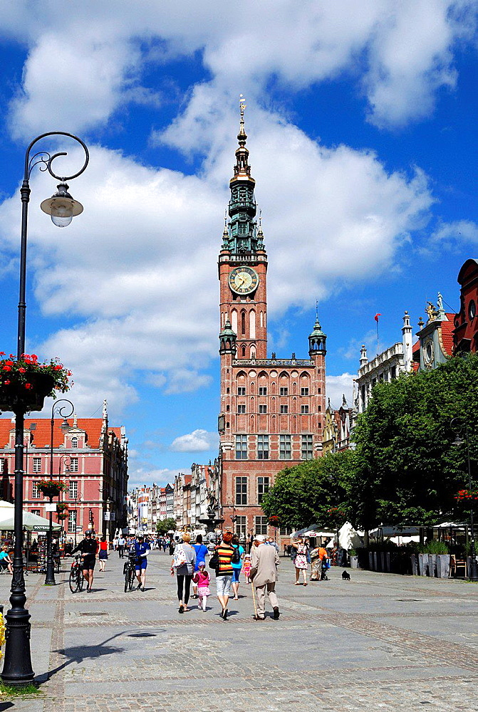 Historic Old Town of Gdansk with the town hall on Long Market