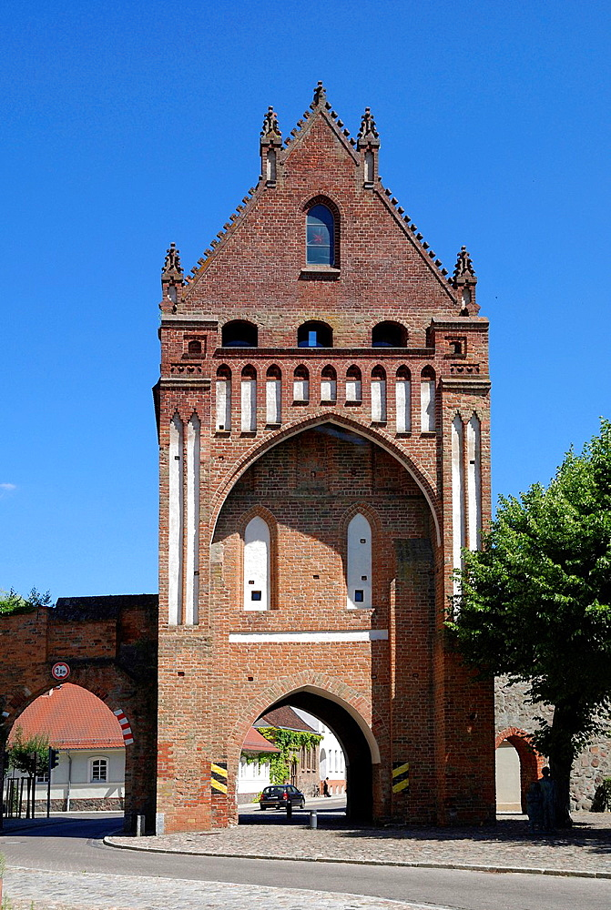 Gate Ruppiner Tor in Gransee, landmark of the city of Brandenburg, Caution: For the editorial use only. Not for advertising or other commercial use!.