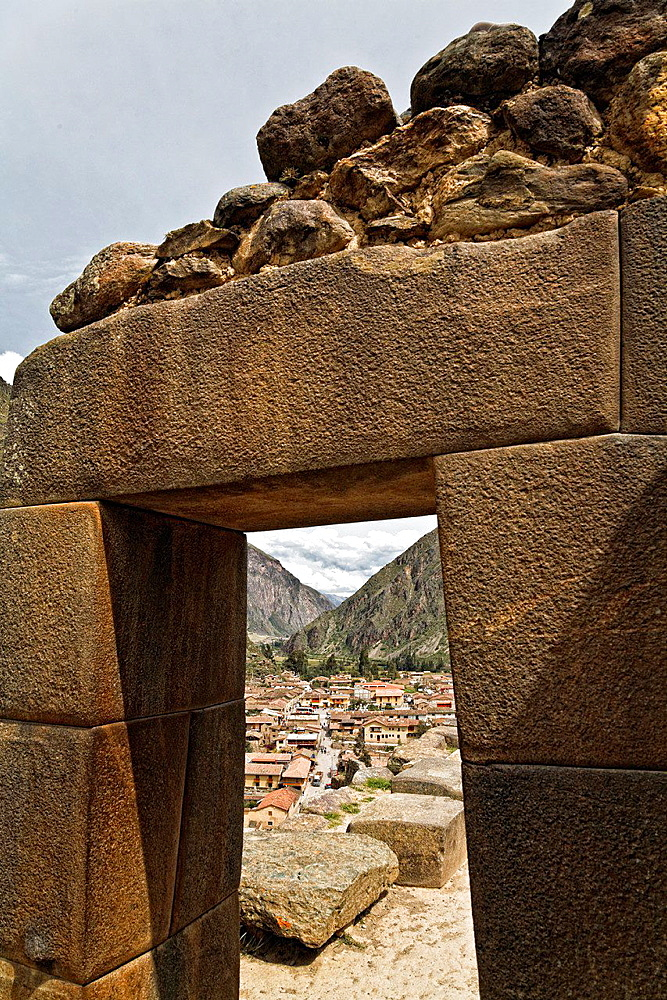 Inca ruins on ollantaytambo village in the sacred valley, peru.
