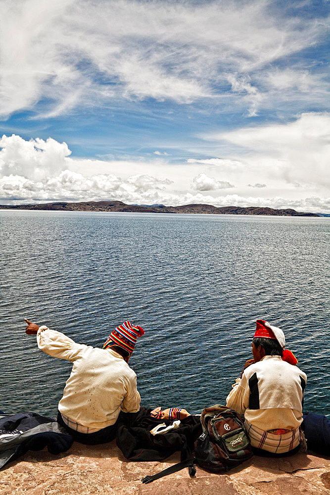 Taquile island in titicaca lake. peru.