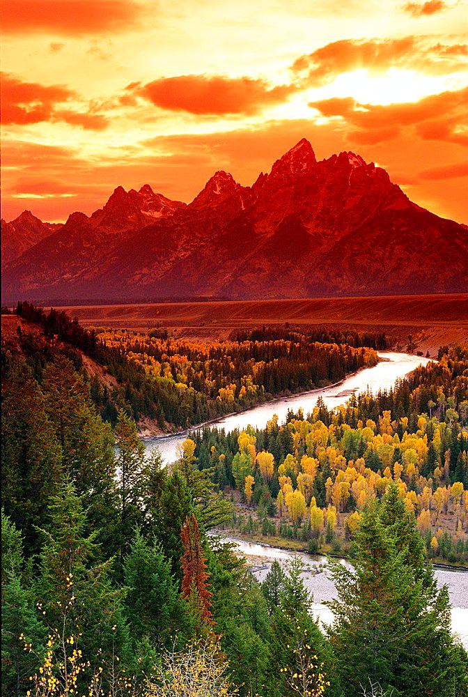 Clearing storm over the Grand Tetons at sunset from the Snake River overlook, Grand Teton National Park, Wyoming USA.