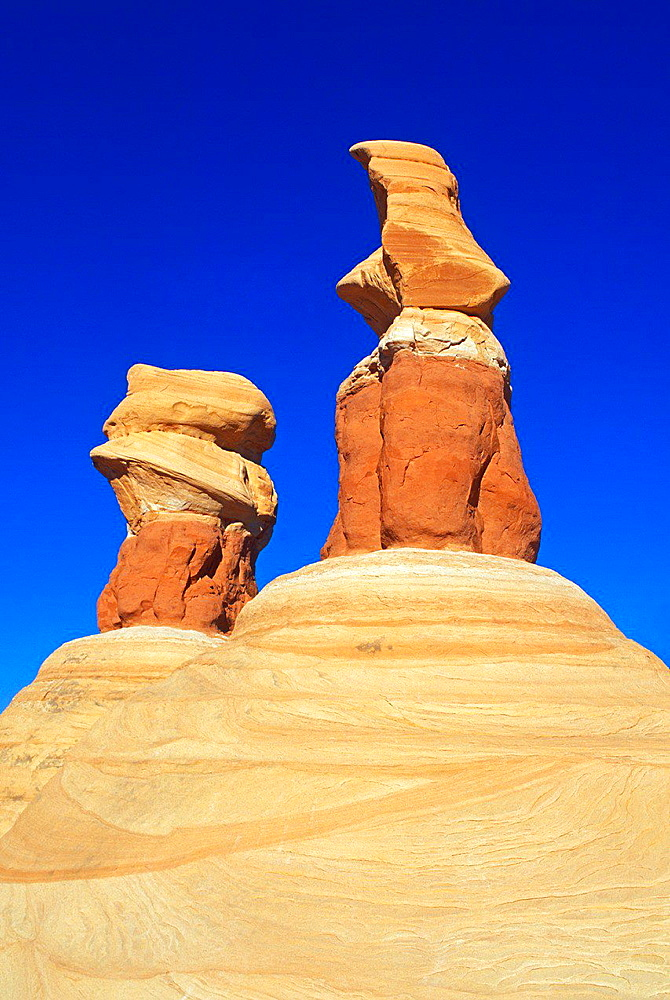 Afternoon light on colorful rock formations at Devil's Garden, Grand Staircase-Escalante National Monument, Utah USA.