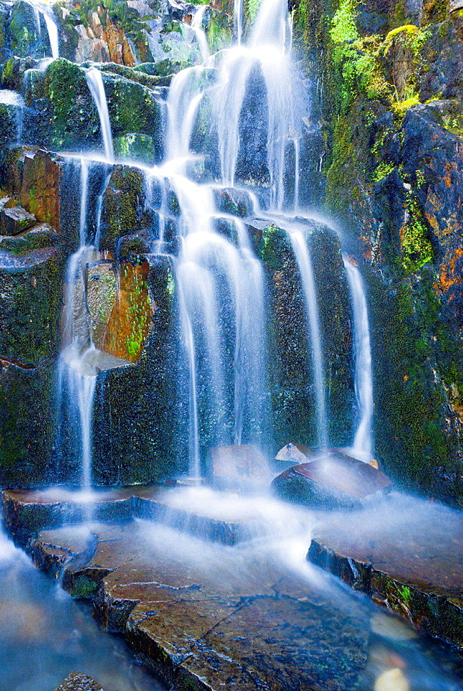 Cascade on Sunbeam Creek, Mount Rainier National Park, Washington USA.