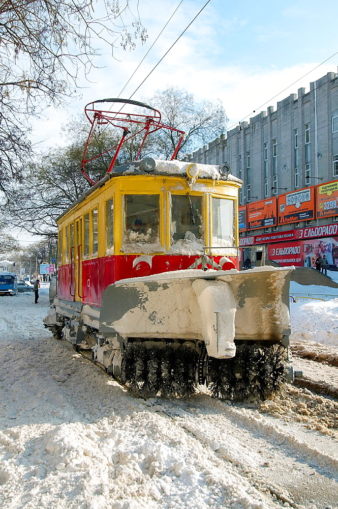snow-removing tram, Odessa, Ukraine.