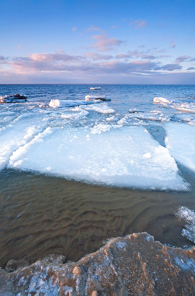 Ice chunks floating on Lake Simcoe, Ontario, Canada.