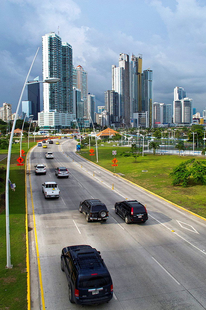 General view of sky scrapers, skyline with highway and traffic, Panama City, Panama.