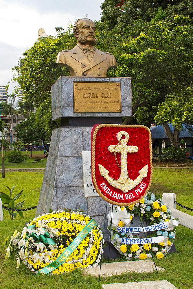 Statue of Miguel Grau, Panama City, Panama.
