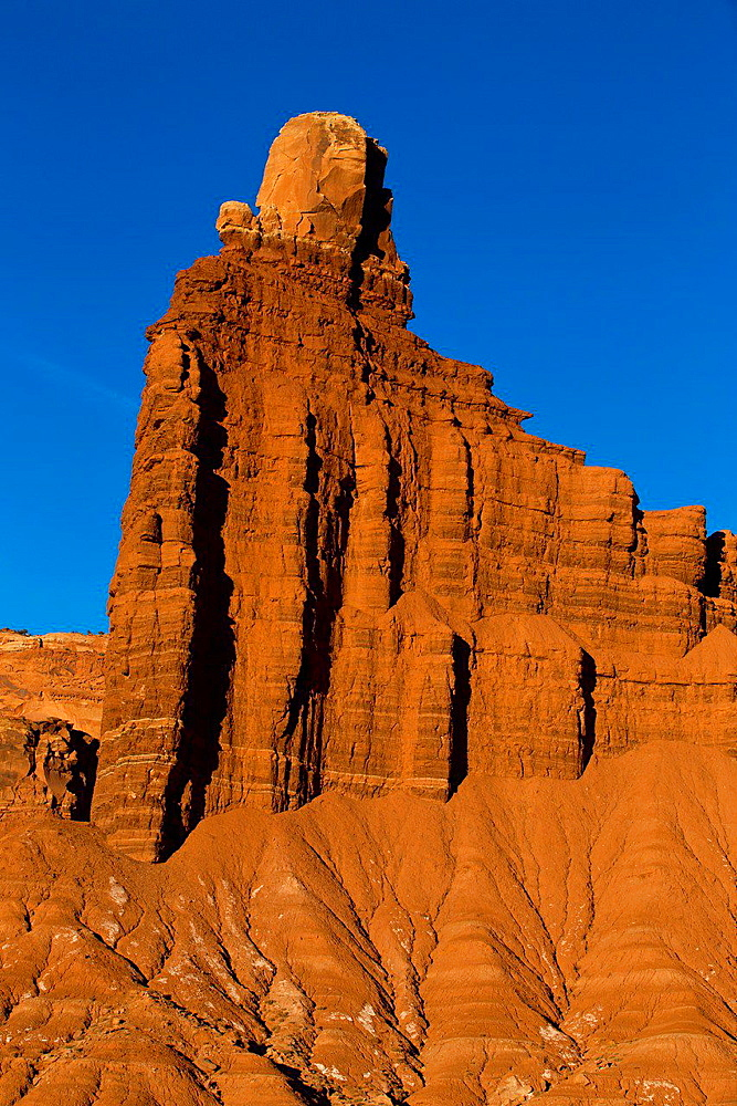 Chimney Rock sandstone pillar rock formation late afternoon, Capitol Reef National Park, Utah, United States of America.