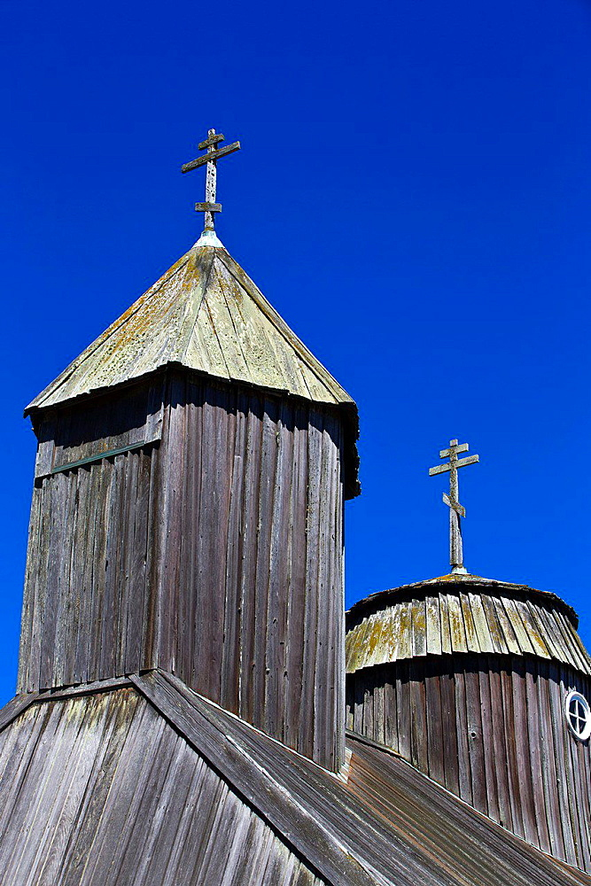 Detailed view of crosses on top of Holy Trinity St. Nicholas Chapel, Fort Ross State Historic Park, Sonoma County, California, United States of America.