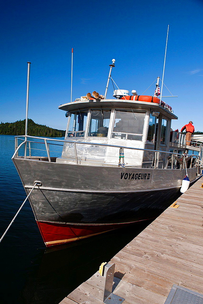 The Voyageur II is docked at WIndigo, Isle Royale National Park, Michigan, United States of America.
