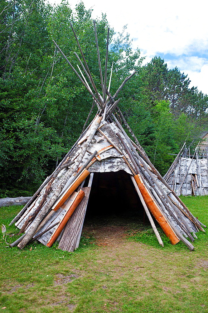 Teepee shelter with birch bark paneling, Grand Portage National Monument, Grand Portage, Minnesota, United States of America.