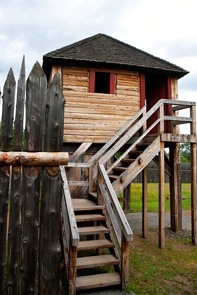 Block house guard tower along the exterior fence, Grand Portage National Monument, Grand Portage, Minnesota, United States of America.