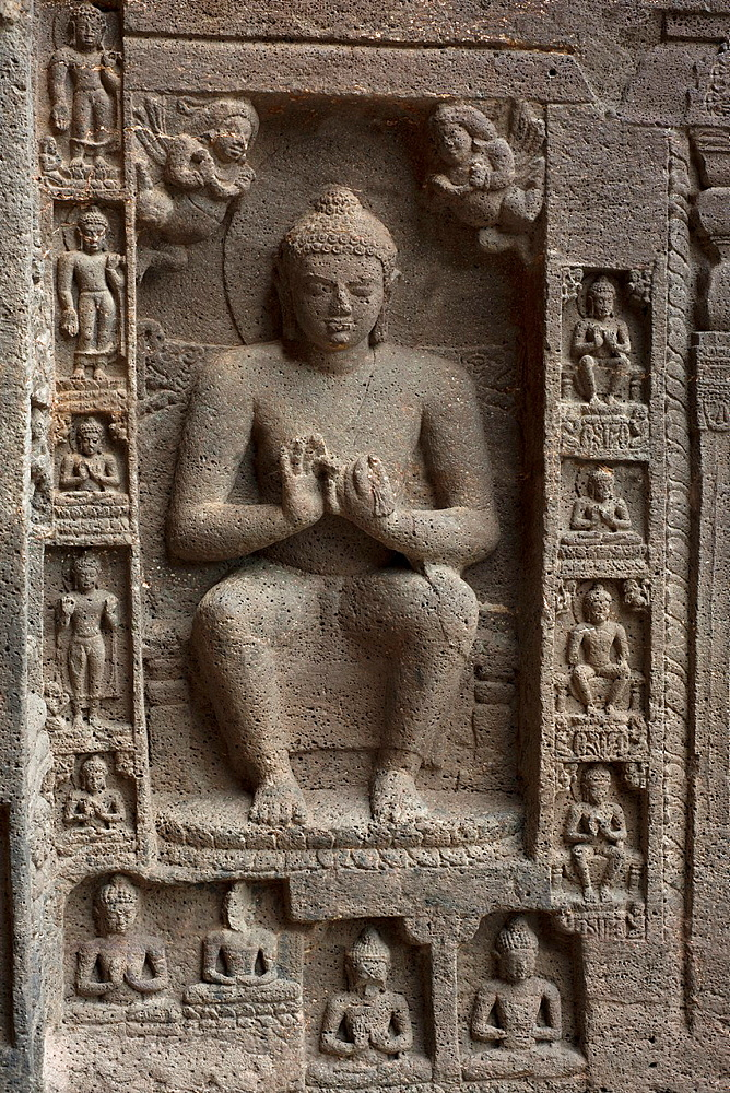 Cave No 19 : Buddha in Pralambapadasana on the right wall of the facade of Chaitya, Ajanta Maharashtra, India
