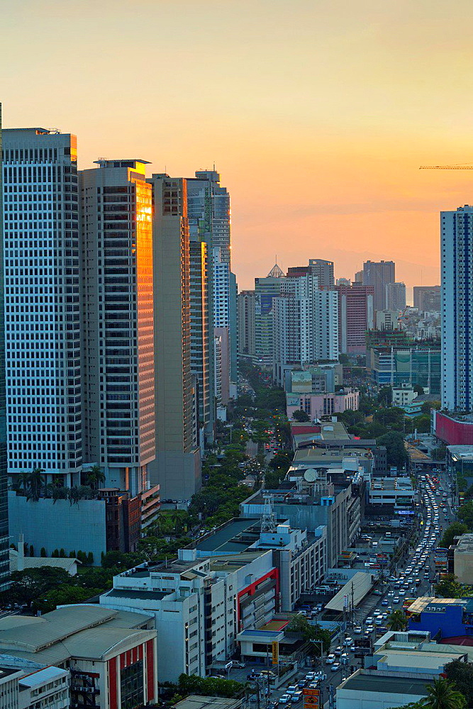 View over Makati City in Metro Manila at Sunset, Philippines.