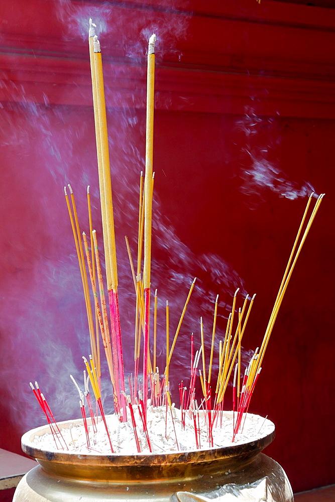 Incense Sticks in the Wat Phnom in Phnom Penh, Cambodia.