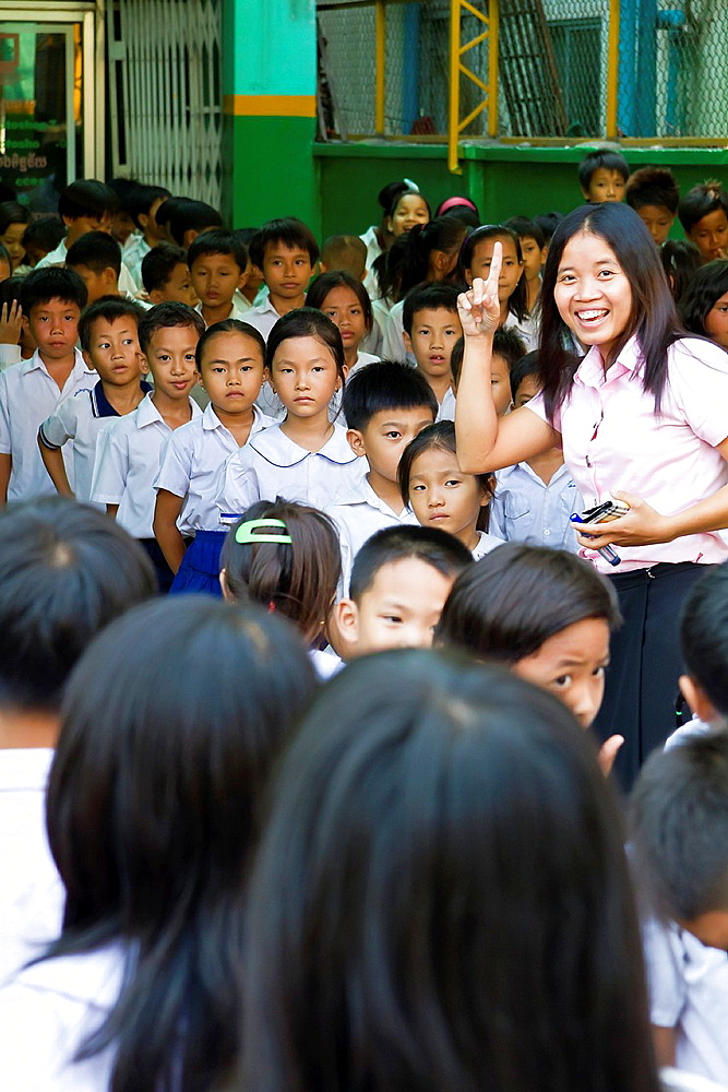 School Class singing in Phnom Penh, Cambodia.