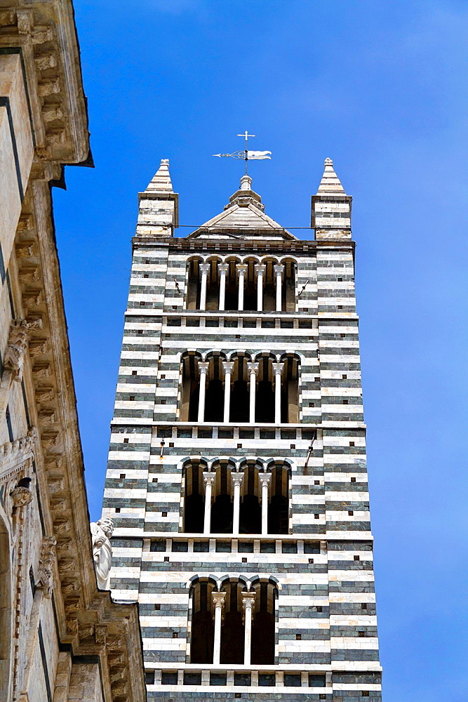 The Bells Tower of the Cathedral di Santa Maria Assunta in Siena, Italy.