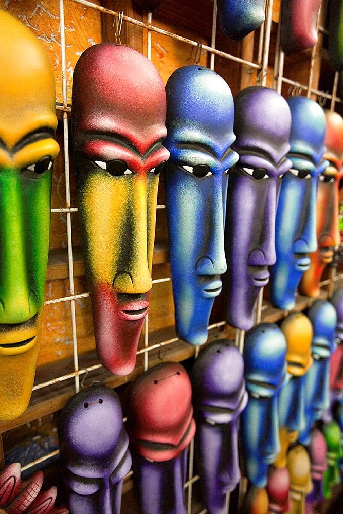 Colorful masks at a shop in Playa Del Carmen, Quintana Roo, Yucatán, Mexico.