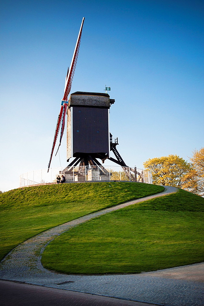 Beautiful wooden wind mill. Brugge, Belgium.