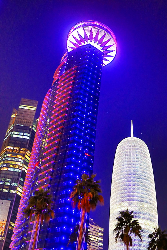 Qatar, Doha City, Worl Trade Center Bldg. and Burj Qatar Bldg.