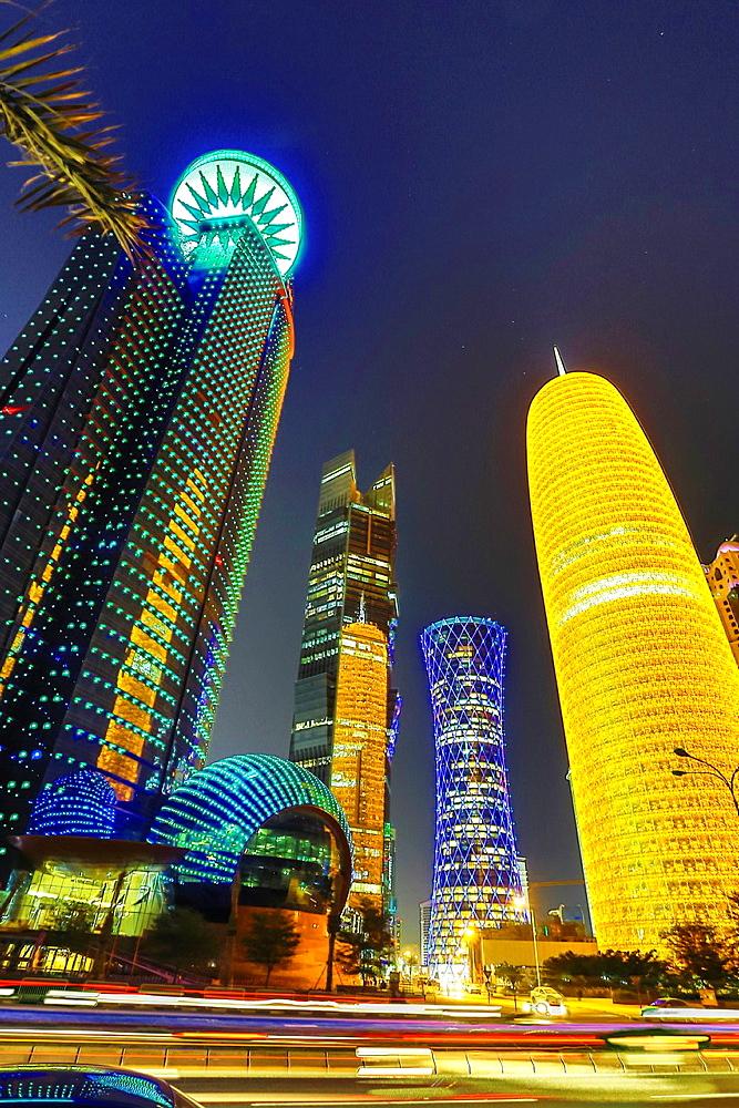 Qatar, Doha City, World Trade Center Bldg. at left.