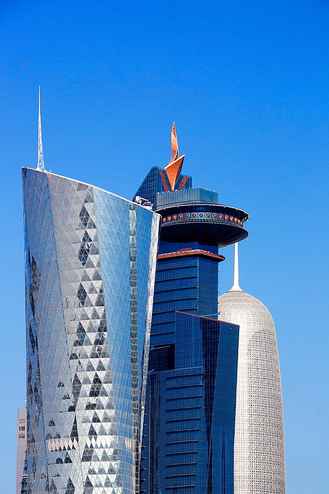 Qatar, Doha City, Al Bidda Tower ,World Trade Center and Burj Katar Bldgs.