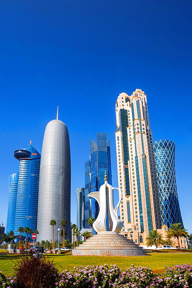 Qatar, Doha City, The Corniche, West Bay Skyline.