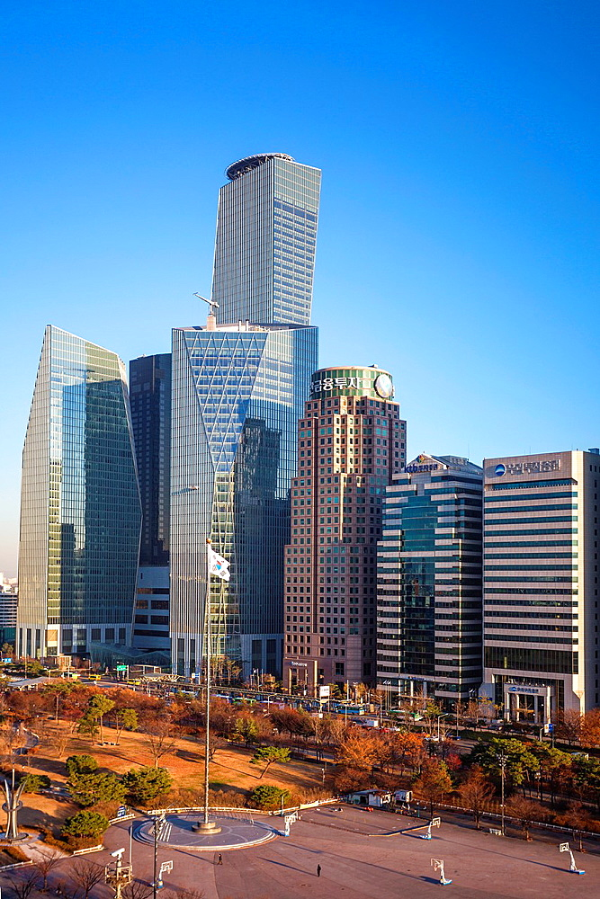 Korea, Seoul City,Yeouido Park, the International Financial Center.