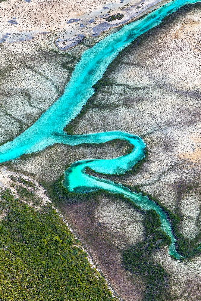 Aerial view, Exuma, Bahamas, America.