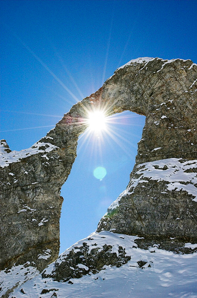 Natural stone arch 'Aiguille Percee'. Tignes. The Alps. France