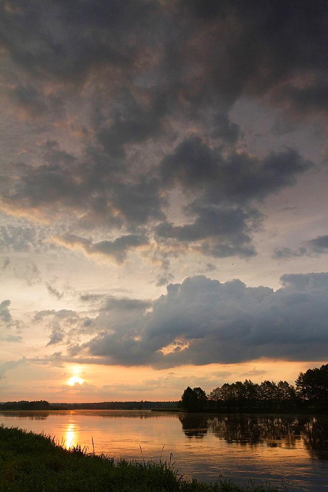 Sunrise on Bug river. Podlasie region. Poland.