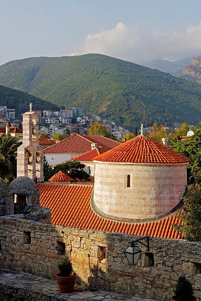 Budva,old town peninsula,Holy Trinity Church,Montenegro