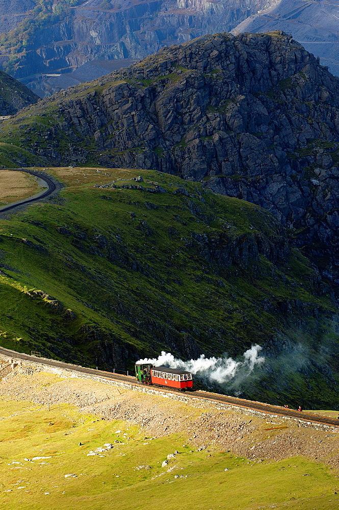 Steam train, Mount Snowdon, Snowdonia National Park, Gwynedd, Wales, United Kingdom.