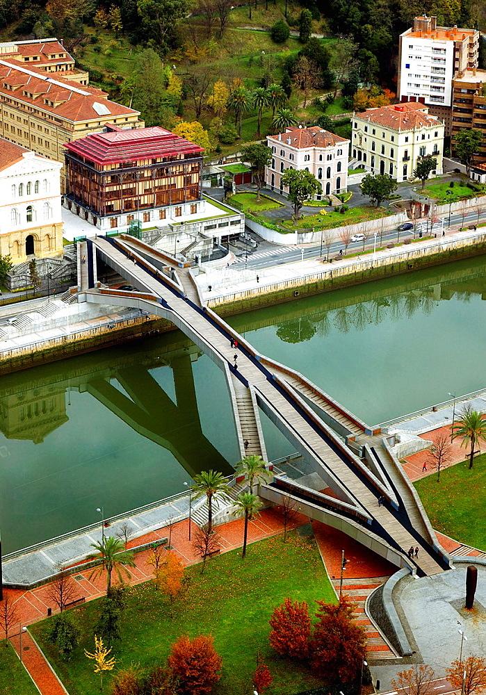 Pedro Arrupe bridge over Bilbao river.
