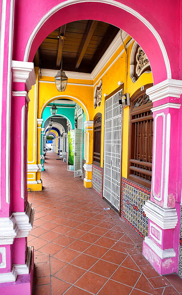 colorful architecture in the UNESCO World Heritage zone of Georgetown in Penang, Malaysia.