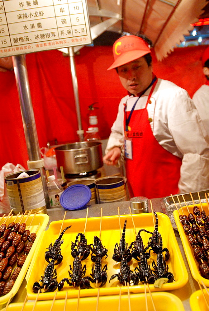Grilled scorpions, food market, Beijing, China