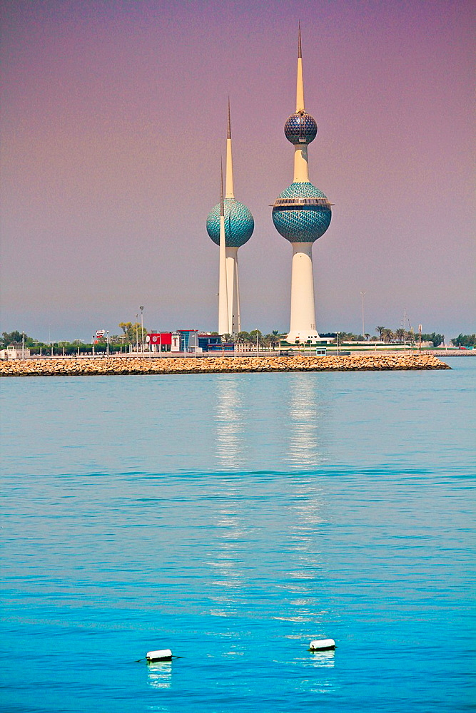 The Kuwait Towers at Arabian Gulf sea, Kuwait city