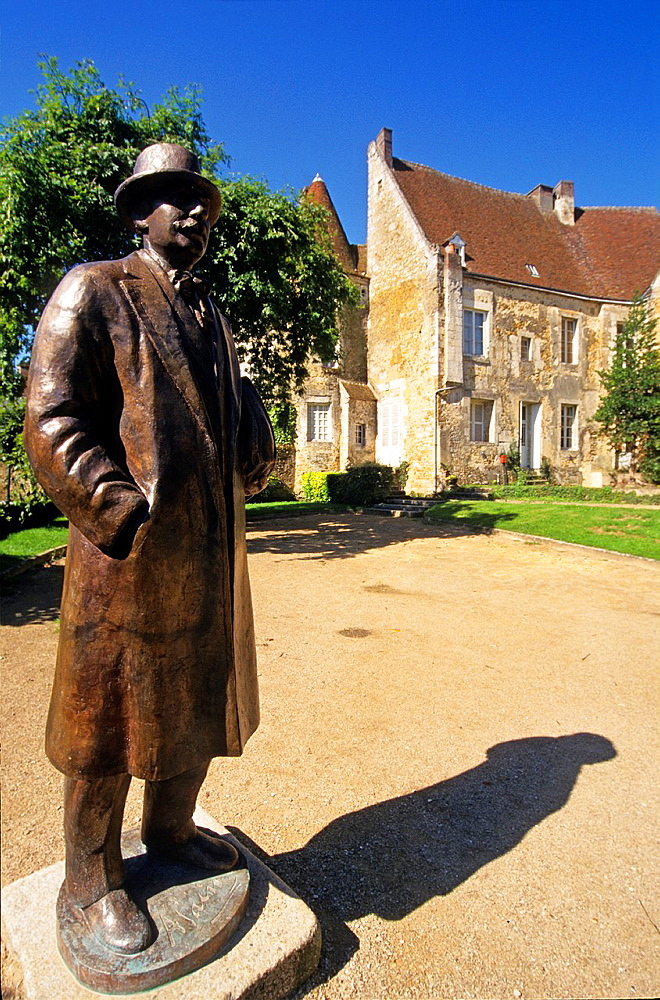 statue of Emile-Auguste Chartier, commonly known as Alain, a french philosopher born in 1868 at Mortagne-au-Perche, Regional Natural Park of Perche, public garden in front of the House of the Counts of Perche, Orne department, Lower Normandy region, France, Western Europe.