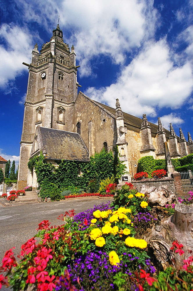 Church of Courgeon, Regional Natural Park of Perche, Orne department, Lower Normandy region, France, Western Europe.