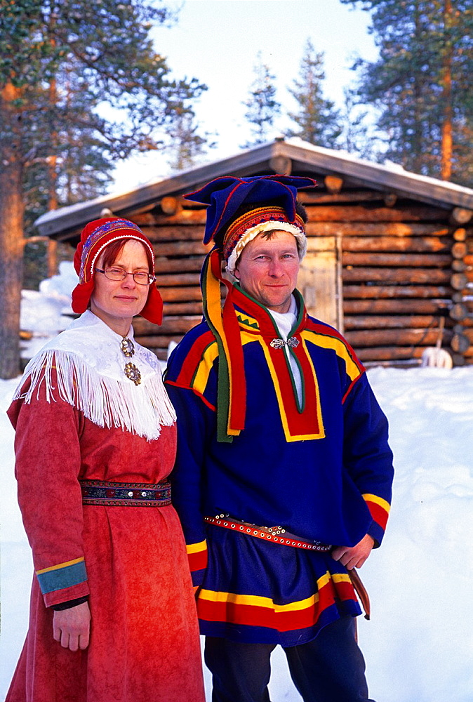 couple of Sami reindeer breeders, Lapland, Finland, Northern Europe.