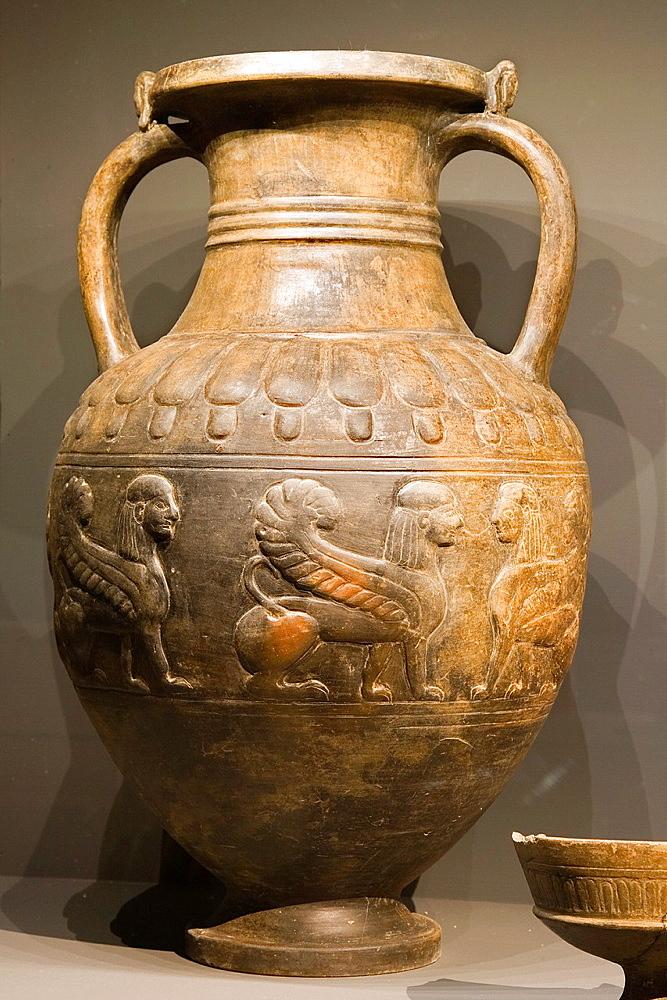Europe, Italy, Tuscany, Siena, Santa Maria Della Scala, Exhibition Of Etruscan Art, Collection Of Emilio Bonci Casuccini, Outfit Of A Tomb In Chiusi Area