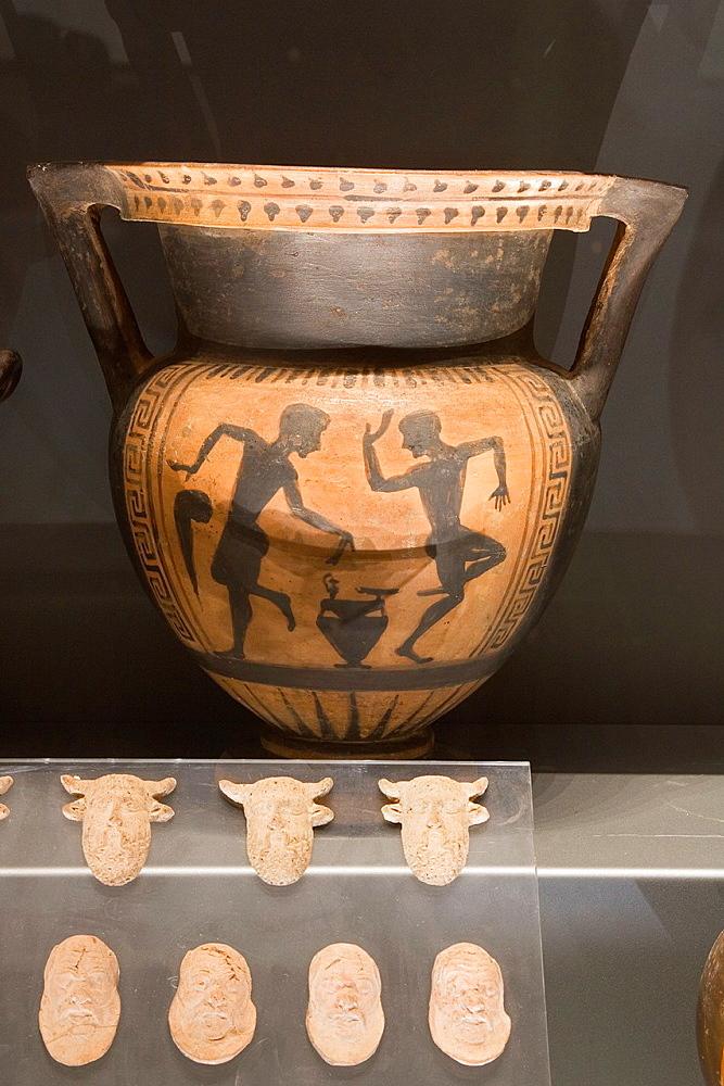 Europe, Italy, Tuscany, Siena, Santa Maria Della Scala, Archaeological Museum, Etruscan Museum, Chigi Zondadari Collection, Ceramics, Amphora