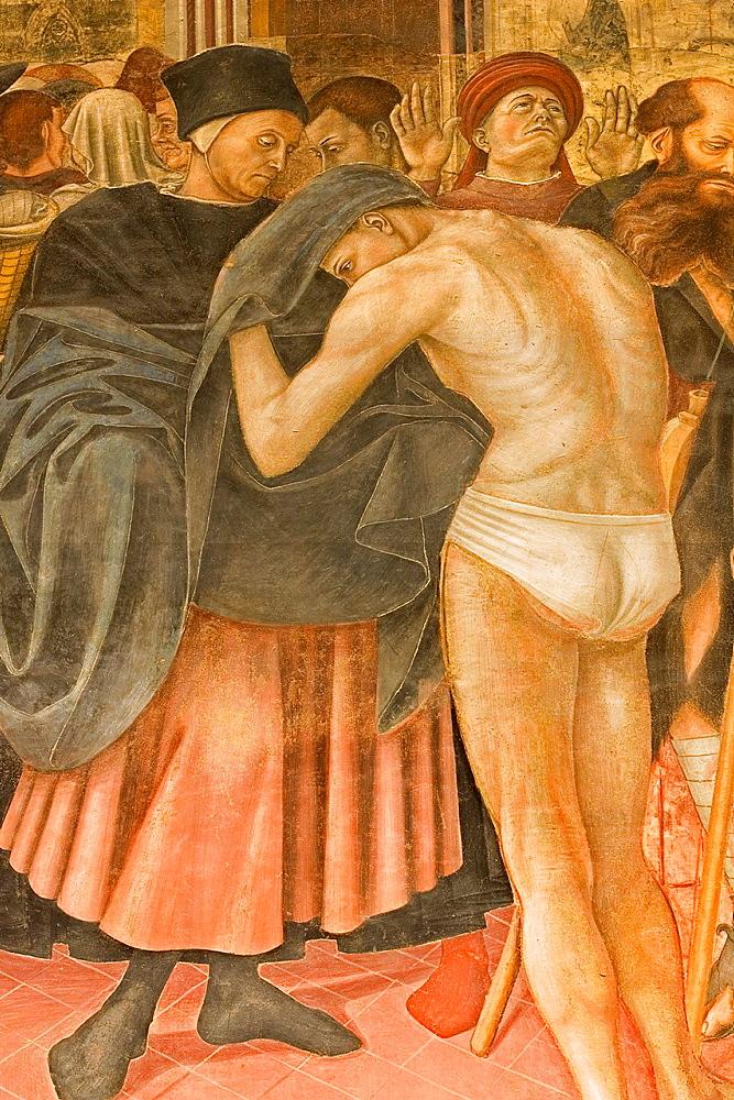 Europe, Italy, Tuscany, Siena, Santa Maria Della Scala, Pellegrinaio, Frescos By Domenico Di Bartolo, Gift Of A Dress To A Poor