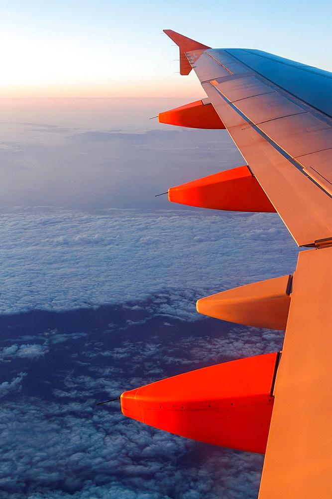 wing of a plane in flight.